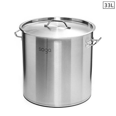 SOGA Stock Pot 33L Top Grade Thick Stainless Steel Stockpot 18/10