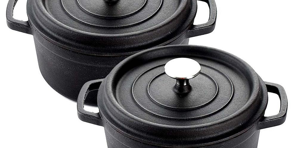 SOGA Black 2 X 24cm Cast Iron Enamel Porcelain Stewpot Casserole with lid