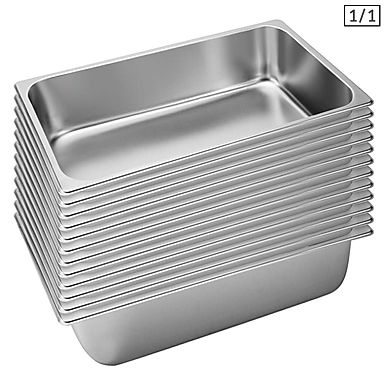 SOGA 12X Gastronorm GN Pan Full Size 1/1 GN Pan 15cm Deep Stainless Steel Tray