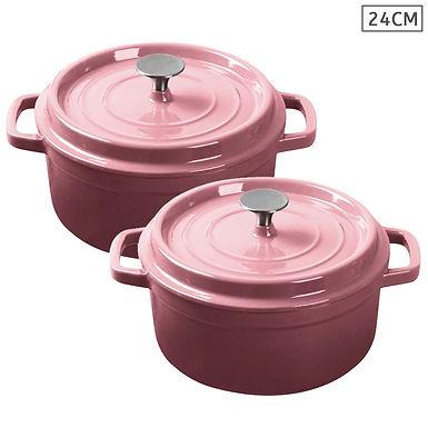 SOGA Pink 2 X 24cm Cast Iron Enamel Porcelain Stewpot Casserole with lid