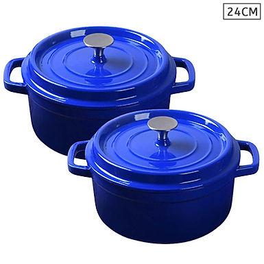 SOGA Blue 2 X 24cm Cast Iron Enamel Porcelain Stewpot Casserole with lid