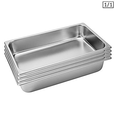 SOGA 4X Gastronorm GN Pan Full Size 1/1 GN Pan 10cm Deep Stainless Steel Tray