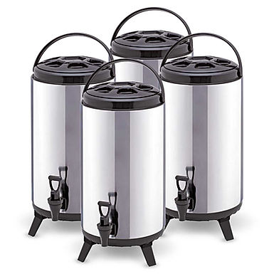 SOGA 4 x 8L Portable Insulated Cold/Heat Coffee Tea Beer Barrel Brew Pot With Di