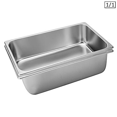SOGA 2X Gastronorm GN Pan Full Size 1/1 GN Pan 20cm Deep Stainless Steel Tray