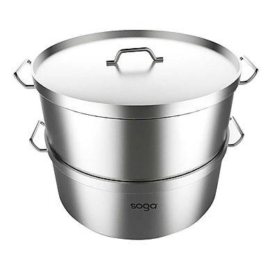 SOGA Food Steamer 50cm Commercial 304 Top Grade Stainless Steel 2 Tiers