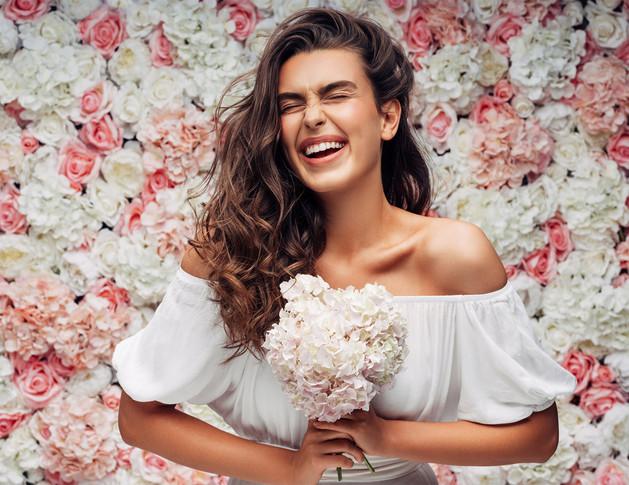 photo de mariée bouquet de rose