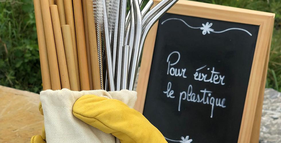 Nos pailles réutilisables (bambou+acier inoxydable)