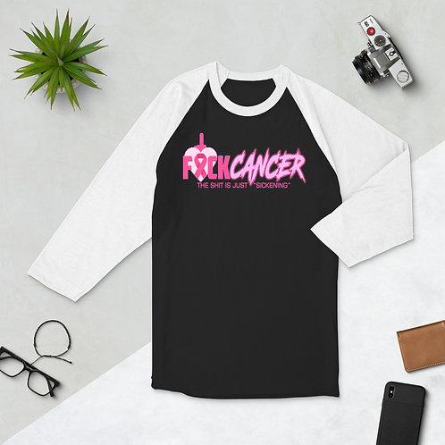 """F"" CANCER 3/4 sleeve raglan shirt"