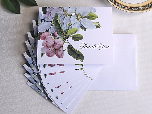 Apple Blossoms set of 8 blank thank you cards