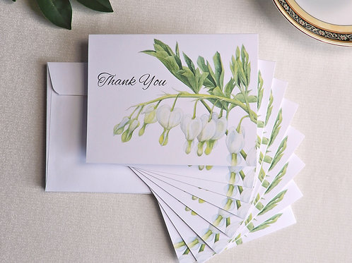 Bleeding Hearts set of 8 blank thank you cards