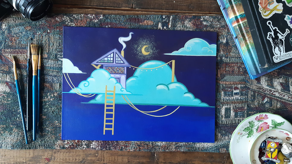 Home in the Clouds- Acrylic Painting