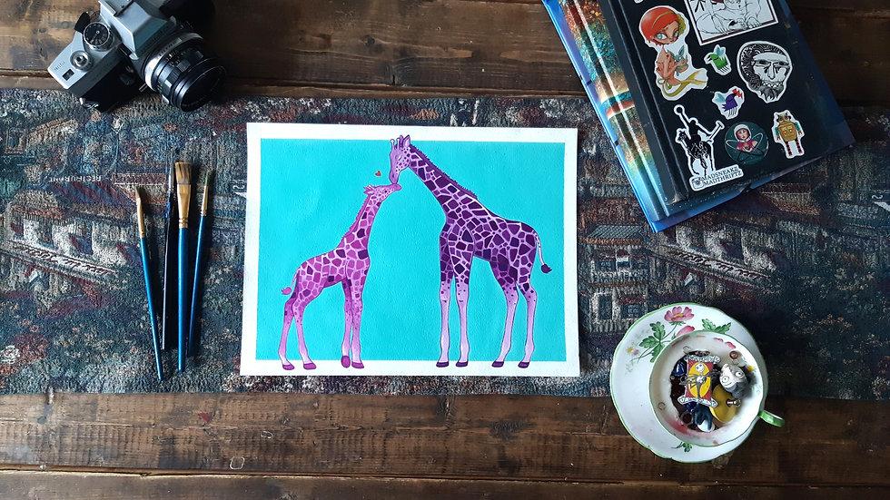 Giraffe Mother & Child- Acrylic painting