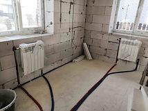 лучевая разводка алюминиевых радиаторов радиатров труб из стены
