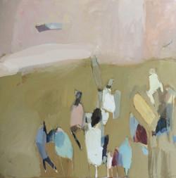 Surfers, oil on canvas, 90x90cm