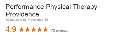 Performance Physical Therpy Providence RI Google Review