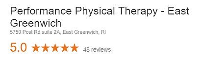 Performance Physical Therapy East Greenwich Google Review