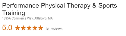 Performance Physicl Therapy & Sports Training Google Review
