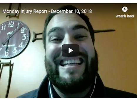 Monday Injury Report - December 30, 2019