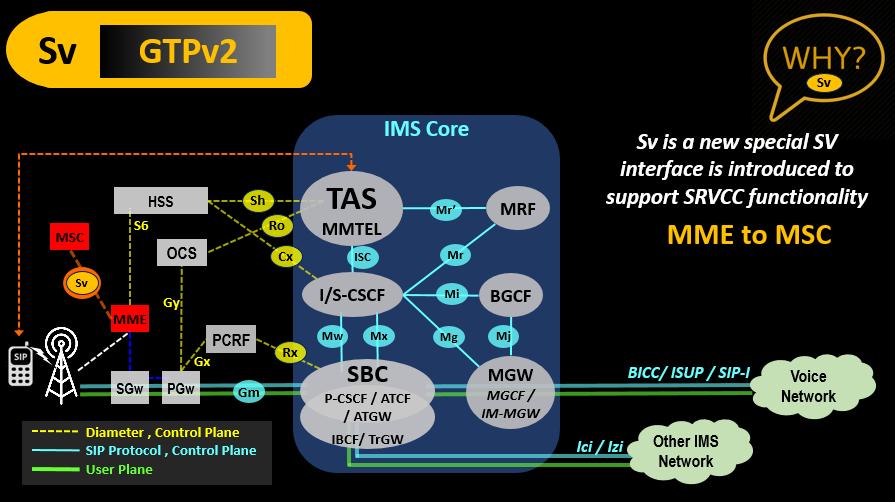 Sv VoLTE IMS Link (GTPv2)