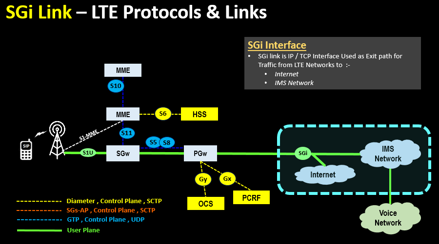 SGi Link – LTE Protocols & Links