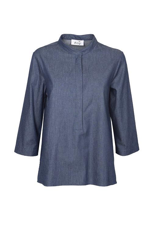 Camicia coreana manica 3/4 color jeans
