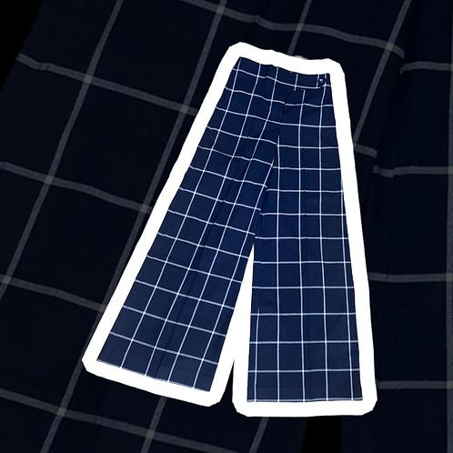 Pantalone a quadri taglio largo color blu