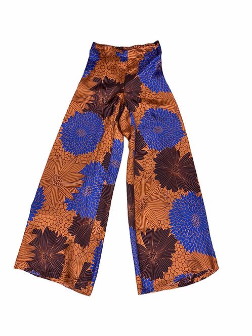 Pantalone palazzo Niu in viscosa color ginepro