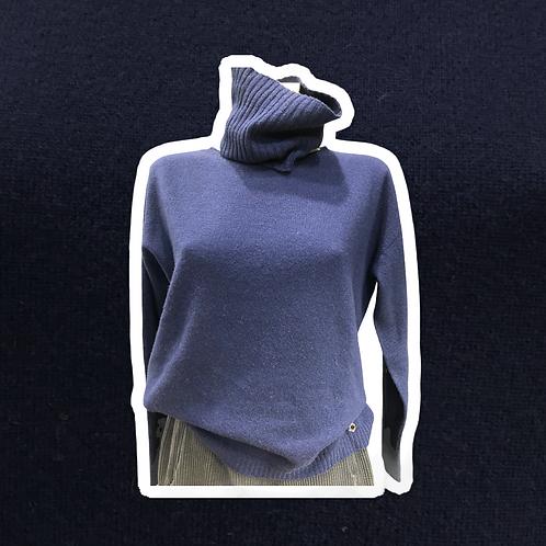 Maglia girocollo/dolcevita con collo rimovibile in cachemire e lana