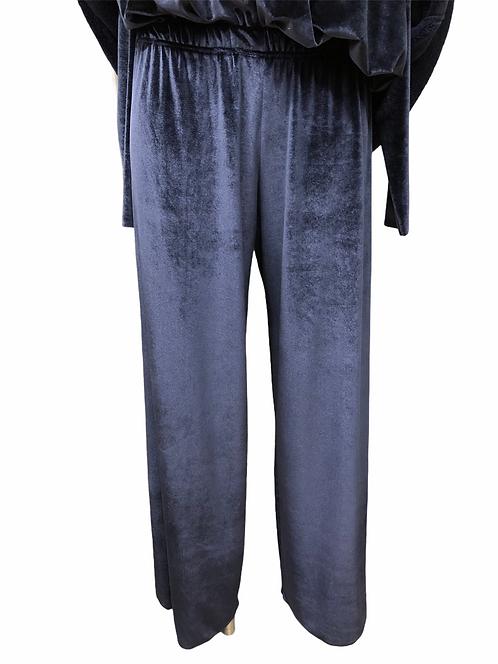 Pantalone morbido in velluto blu au petit bonheur