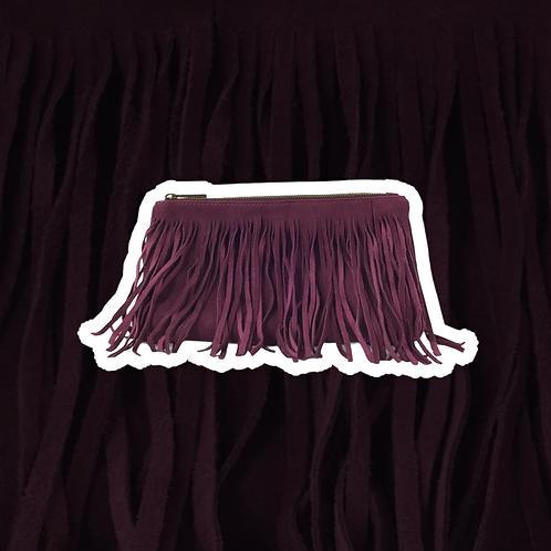 Borsa suede con frange con tracolla color magenta