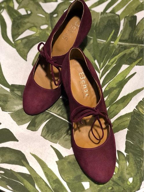 Scarpa in camoscio-nappa color rubino