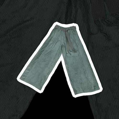 Pantalone Alysi velvet ampio color verde salvia