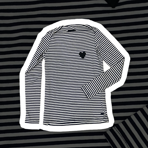 T-shirt in cotone a righe color bianche e blu