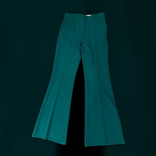 Pantalone a zampa color verde smeraldo