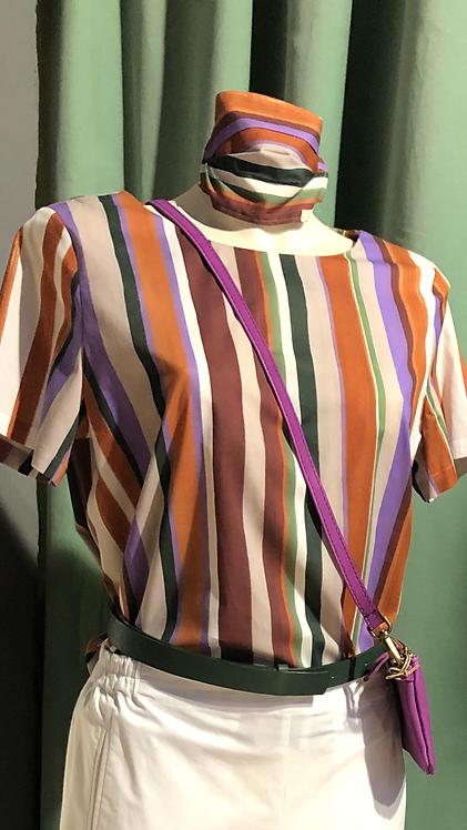 Camicia scatoletta in cotone a righe color pervinca