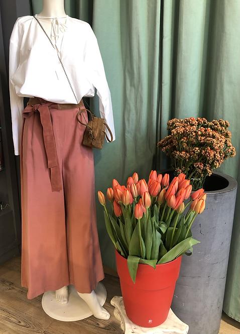 Pantalone cupro effetto ampio color fard