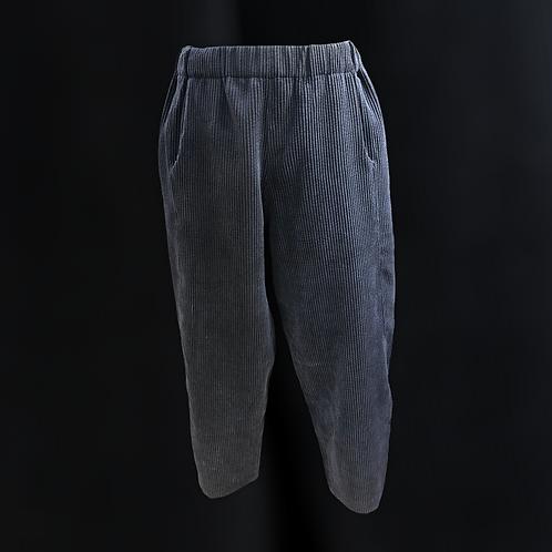 Pantalone con elastico in vita in velluto blu marine