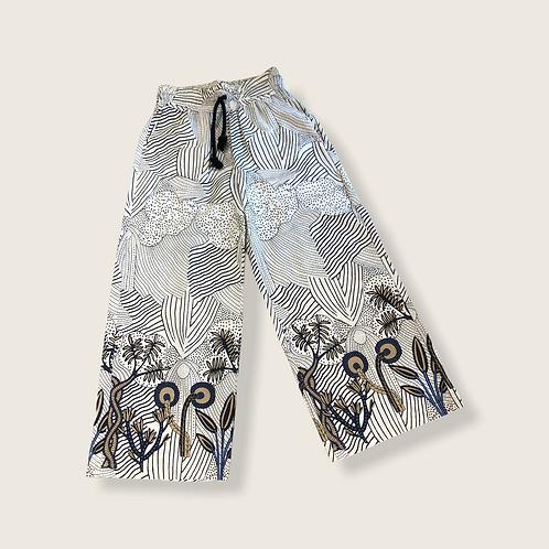 Pantalone vaniglia elastico e cordone in vita