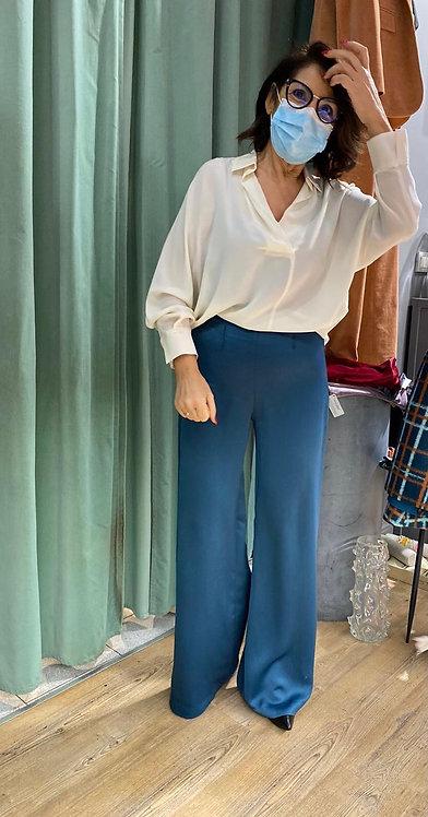 Pantalone ampio con elastico color petrolio