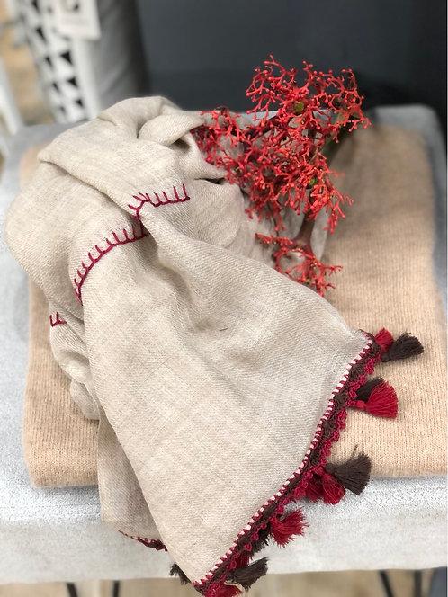 Sciarpa in lana beige con napping colorate