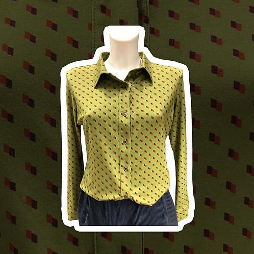 Camicia viscosa stampa Brom color oliva