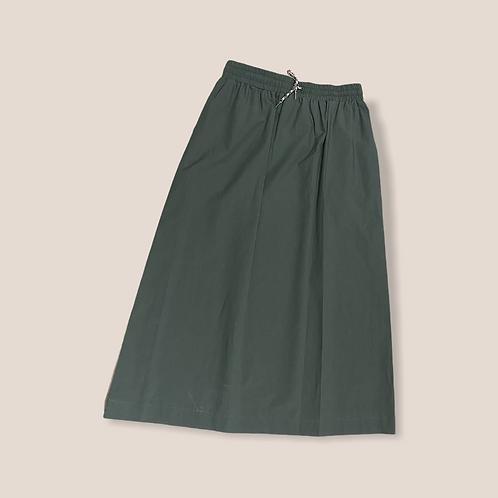 Gonna in cotone con elastico in vita color verde militare