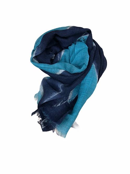 Sciarpa in lana blu/turchese