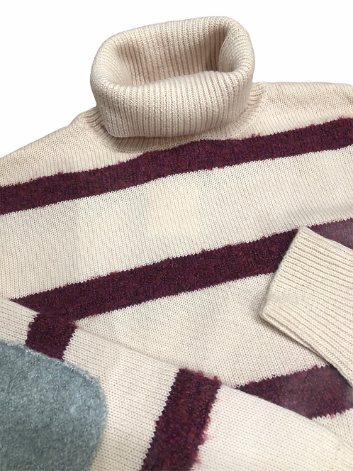 Maglione dolcevita a righe 100% lana color prugna
