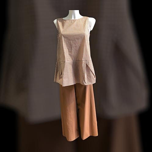 Pantalone con elastico bojan in cotone color terra