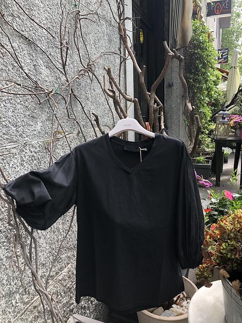 T-shirt M/corta a sbuffo in voile