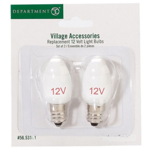 DEPT 56 Replacement Set of two 12 volt bulbs for use with many Village pieces.