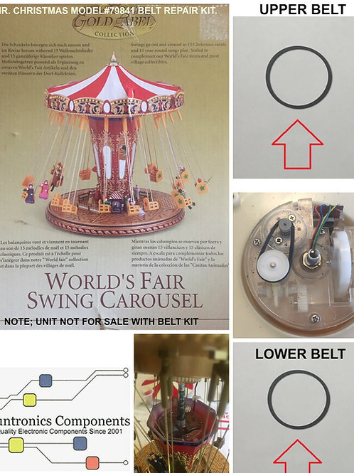 Mr. Christmas World's Fair Swing Carousel -2 Belts Repair kit.
