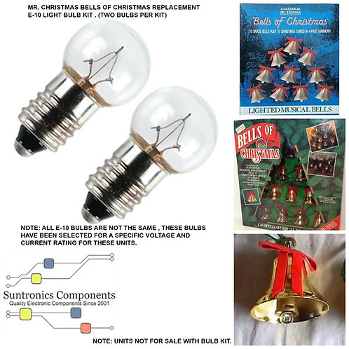 MR CHRISTMAS BELLS OF CHRISTMAS 6 or 8 or 10 SET OF BELLS ONLY  2-BULB KIT