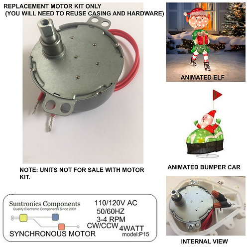 (P15)Animated Bumper Cars & Animated Elf replacement motor.